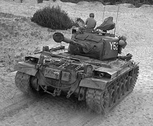 Tanks of South Korea - USMC M46 Patton, 8 July 1952. Note the different rear plate and twin fender-mounted exhausts.
