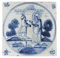 MCC-11956 Tegel in blauw met Christus vastend in de woestijn bekoord door de duivel (1).tif