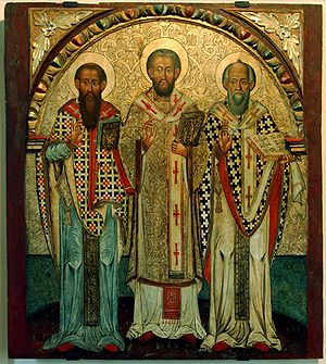 Basil of Caesarea - Icon of the Three Holy Hierarchs: Basil the Great (left), John Chrysostom (center) and Gregory the Theologian (right)—from Lipie, Historic Museum in Sanok, Poland.