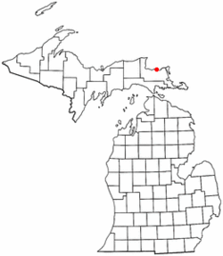 Location of Bay Mills Indian Community, Michigan