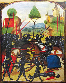 Two groups of black armoured knights, mounted and on foot, charge at each other, fighting with swords and lances.