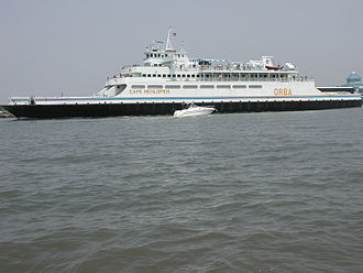 The Cape May-Lewes Ferry connects New Jersey and Delaware across Delaware Bay. MVCapeHenlopen.jpg