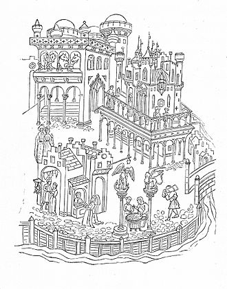 History of the Republic of Venice - Drawing of the Doge's Palace, late 14th century