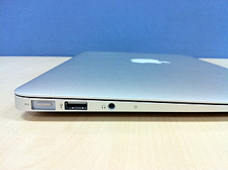 MacBook Air - Left side of a late-2010 MacBook Air. From left to right, MagSafe power connector, USB port, headphone jack and built-in microphone.