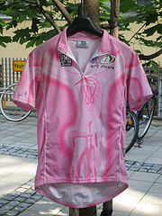 A pink jersey hung on coathanger, with bikes in the background