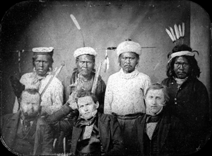 Maidu - Original title: Maidu Headmen with Treaty Commissioners.  Treaty Commissioner O. M. Wozencraft is seated center front.  Image was captured on or around August 1, 1851 at Bidwell's Ranch at Chico Creek.