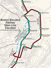 Map of the Atlantic Avenue Elevated (at right) and related lines