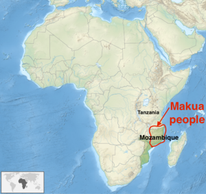 Makua people - Geographic distribution of Makua people (approx)