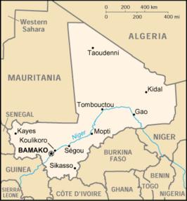 Cartina del Mali con la capitale Bamako