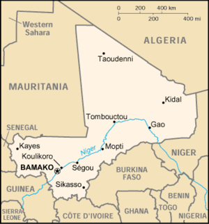 2015 Bamako hotel attack - Location of Bamako within Mali