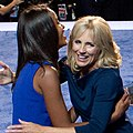 Malia Obama hugging Jill Biden at 2012 DNC.jpg