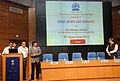 Manish Tewari launching the News Service Division AIR Free News SMS Service, in New Delhi. The Secretary, Ministry of Information and Broadcasting, Shri Bimal Julka and the Joint Secretary.jpg