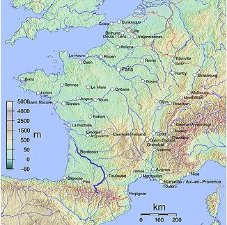 Die wichtigsten Flüsse Frankreichs, unter ihnen die Garonne