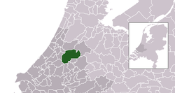 Highlighted position of Alphen aan den Rijn in a municipal map of South Holland