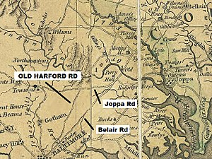 Old Harford Road - Image: Map MD Griffith 1794 Old Harford Rd wide LABELED
