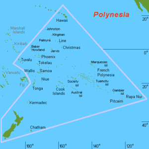 Blackbirding - Geographic definition of Polynesia, surrounded by a pink line