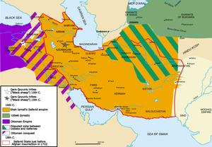 Khalifeh Soltan - Map of the Safavid Empire at the appointment of Khalifeh Soltan.
