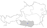 Map of Austria, position of Gurk highlighted