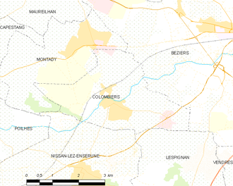 Colombiers, Hérault - Map
