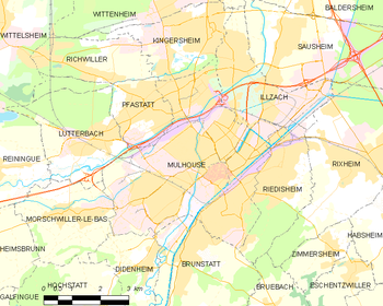 Map of the commune of Mulhouse