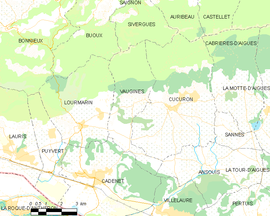Mapa obce Vaugines