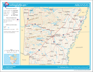 Outline of Arkansas - An enlargeable map of the state of Arkansas