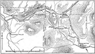 Battle of Bennington - An early 20th-century map depicting the battlefield