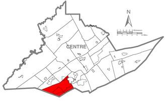Ferguson Township, Centre County, Pennsylvania - Image: Map of Ferguson Township, Centre County, Pennsylvania Highlighted