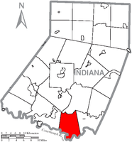 Map of Indiana County, Pennsylvania Highlighting West Whitfield Township