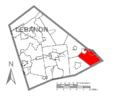 Map of Lebanon County, Pennsylvania Highlighting Millcreek Township.PNG