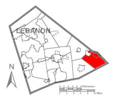 Map of Lebanon County, Pennsylvania highlighting Millcreek Township