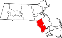 Map of Massachusetts highlighting Bristol County