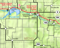 KDOT map of Mitchell County (legend)