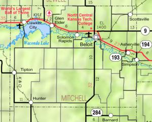 Beloit, Kansas - Image: Map of Mitchell Co, Ks, USA