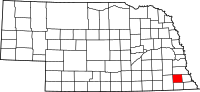 Map of Nebraska highlighting Johnson County