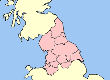 Map of Northern England within Great Britain.