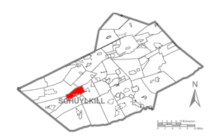 Frailey Township, Schuylkill County, Pennsylvania - Image: Map of Schuylkill County, Pennsylvania Highlighting Frailey Township