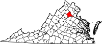 Map of Virginia highlighting Culpeper County