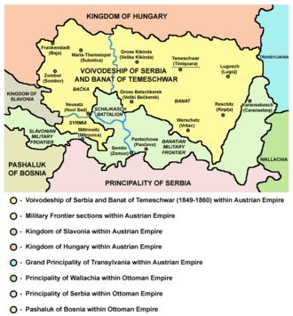 Voivodeship of Serbia and Banat of Temeschwar - Map of the Voivodeship
