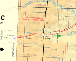 Wallace County, Kansas - Image: Map of Wallace Co, Ks, USA