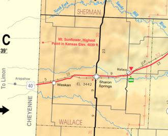 Wallace County, Kansas - Image: Map of Wallace Co, Ks, USA