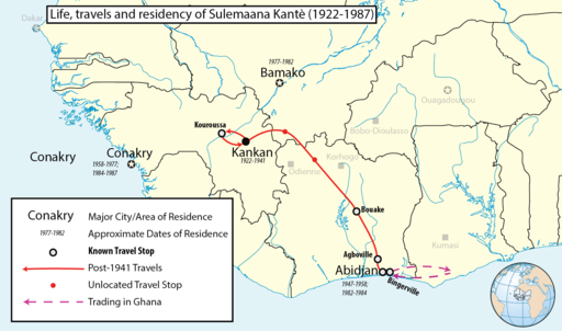 Map of the life of sulemaana kante inventor of the n'ko alphabet