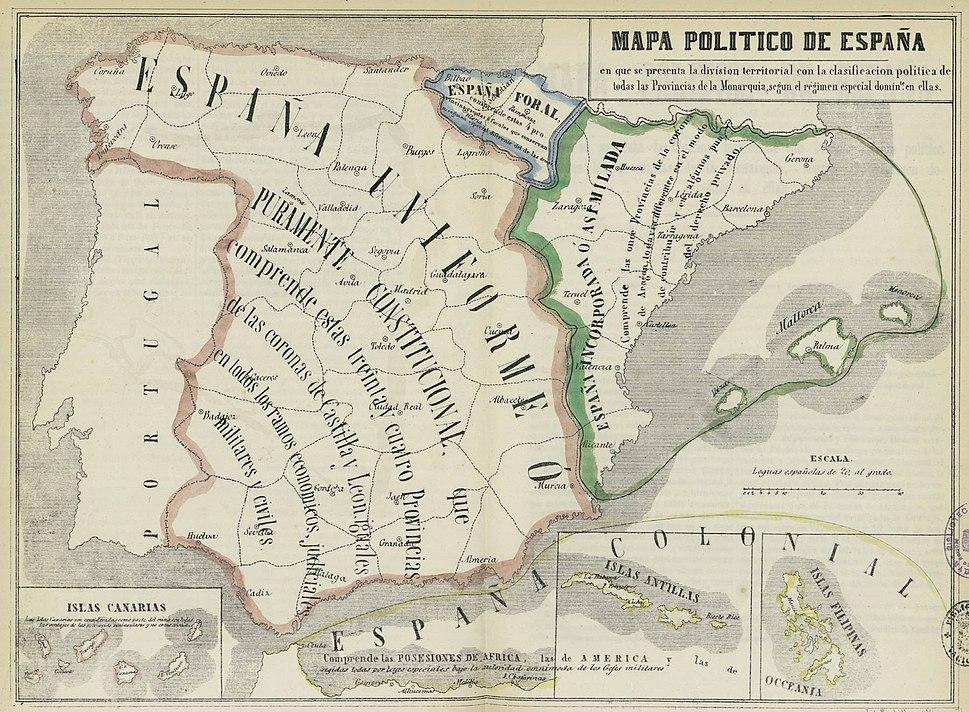 Mapa político de España, 1850