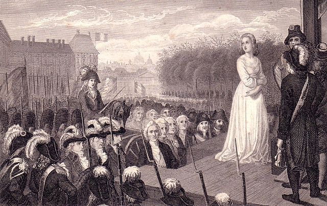 Marie Antoinette before her execution, steel engraving.