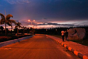 Birla Institute of Technology and Science, Pilani – Hyderabad Campus - The road leading up to the academic block from the main gate is called the Marine Drive by the students