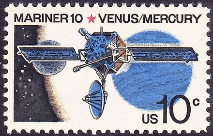 Mariner 10 Space probe, on U.S. Stamps, Space Exploration History, Issue of 1975 Mariner 10 1975 Issue-10c.jpg