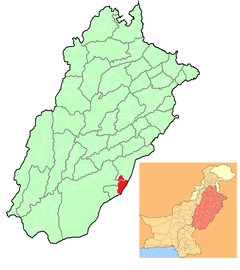 Location of Marot (in red) in Punjab, Pakistan and (inset) Punjab in Pakistan