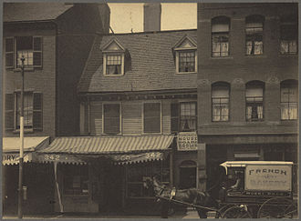 Increase Mather - The house built in 1677 by Increase Mather near the north corner of Hanover and North Bennet Streets, Boston, survived into the 20th century; pictured in 1898