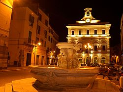 Piazza Matteotti in Civita Castellana by night.