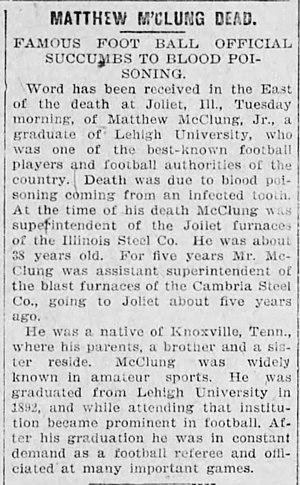 Matthew McClung - Image: Matthew Mc Clung Dead, The Allentown Leader, March 8, 1908